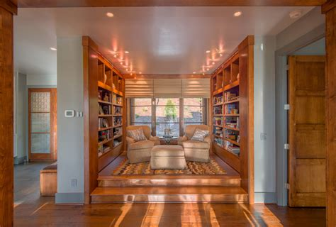 small home library  dark wood bookcase home office