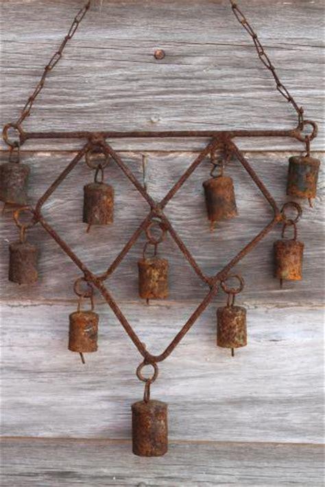 Rusty Bells Wind Chime Primitive Wrought Iron Garden