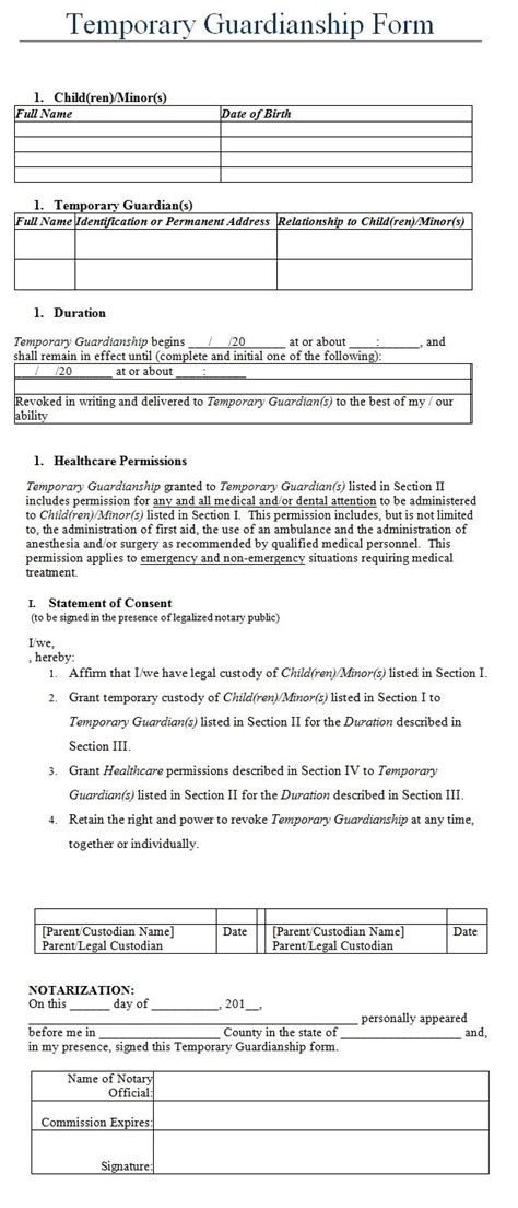temporary guardianship form template  board