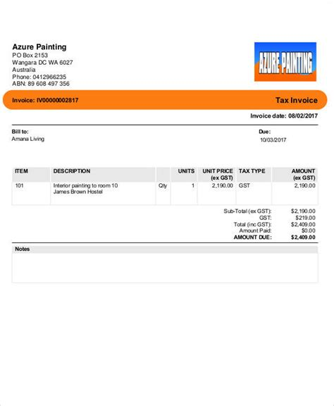 sample painting invoice templates   excel