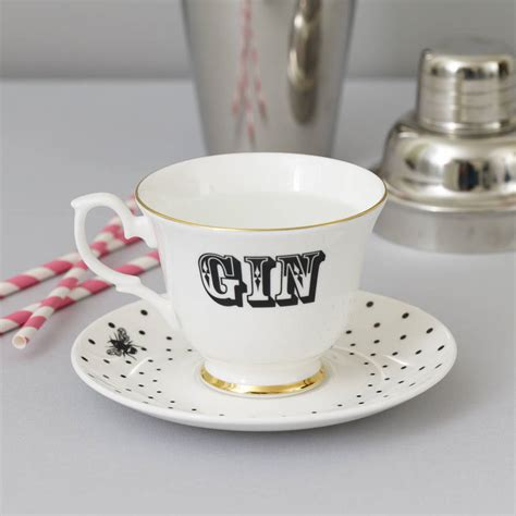 Vodka Teacup by Gin And Vodka Tea Cup And Saucer Set By Yvonne