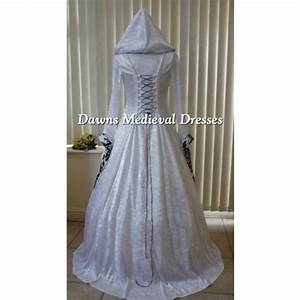 medieval gothic pagan white black bold hooded wedding With hooded wedding dress