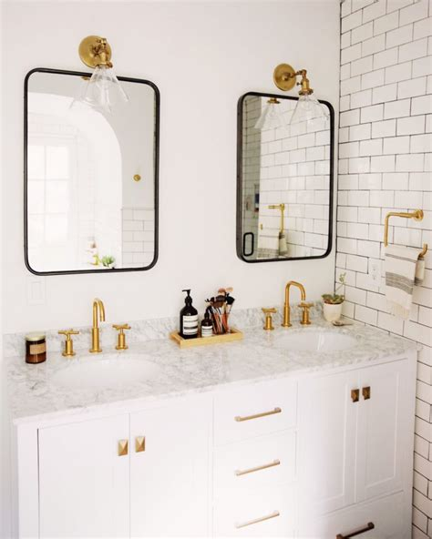 Brass Bathroom Mirror by Mixing Metal Finishes In The Bathroom Centsational Style