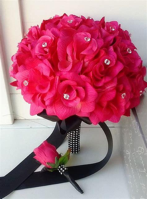 amazoncom hot pink rose  black ribbon bridal wedding