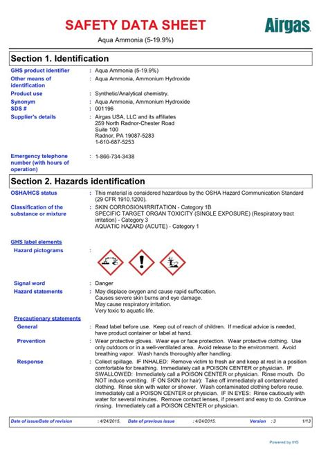 Airgas Specialty Products Ammonia Safety Data Sheets