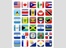 The Americas And The Caribbean Flags Flat Square Icon Set
