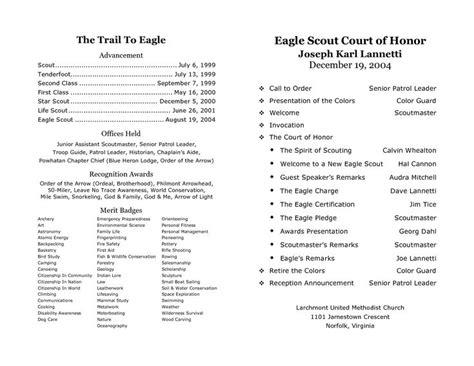 eagle scout ceremony program template court of honor program sle step d program pdf scouts scouts program