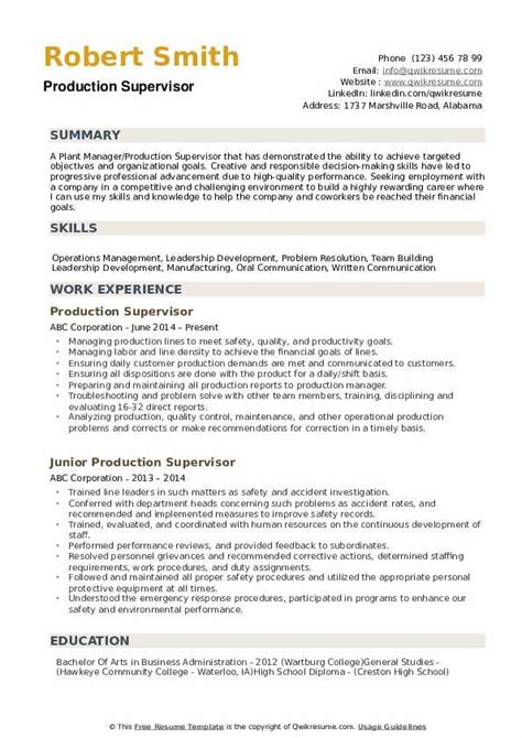 Cv templates find the perfect cv template. Production Supervisor Resume Samples | QwikResume