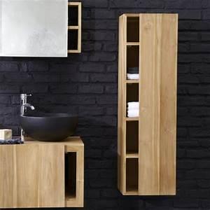 Meuble Salle De Bain Noir Et Bois : colonne salle de bains un meuble l gant et fonctionnel ~ Teatrodelosmanantiales.com Idées de Décoration