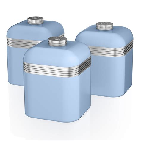 Swan Set Of 3 Tea Coffee Sugar Blue Canisters Jar Kitchen