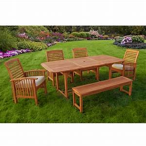 Walker Edison 6 Piece Acacia Wood Patio Dining Set With