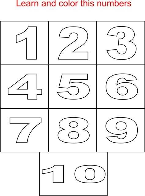 basic numbers coloring page  kids