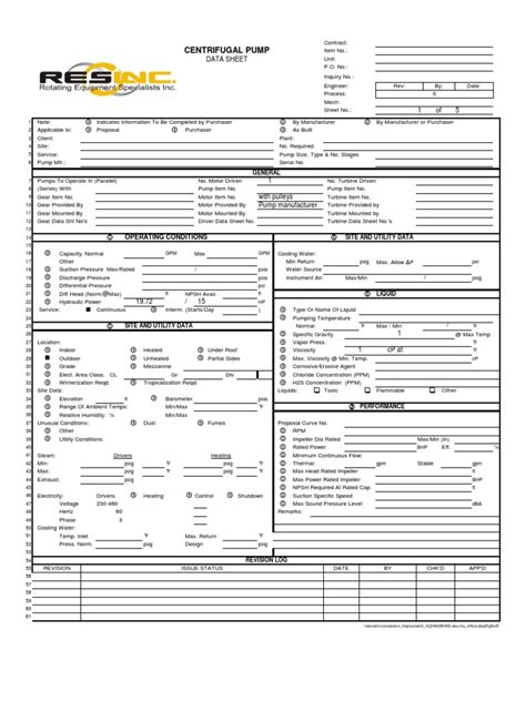 Centrifugal Pump: Data Sheet