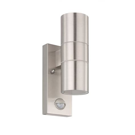 stainless steel led up down wall light pir eglo 32898 riga 5 led pir stainless steel up down exterior