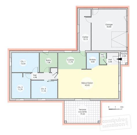 plan de maison 3 chambres plan maison plain pied 120m2 28 images plan maison