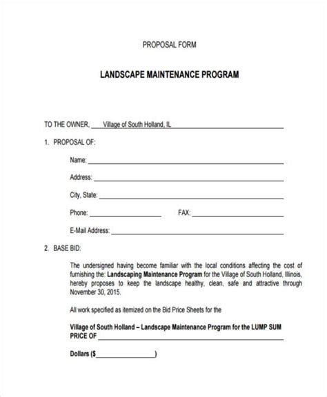 sample blank proposal forms   excel ms word