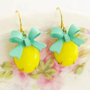 Bright Yellow Jewel Earrings Vintage from