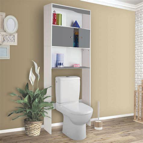 meuble etagere dessus wc bois coloris gris meubles