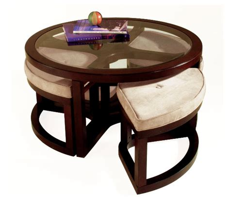 12 varieties of round coffee tables with stools underneath