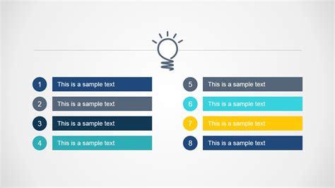 steps bright idea agenda  design slidemodel
