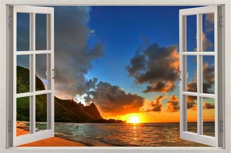 3d Window Ocean View Blue Sea Home Decor Wall Sticker: Ocean Beach At Sunset 3D Window View Decal WALL STICKER