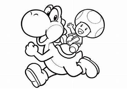 Yoshi Coloring Printable Mushroom Pdf