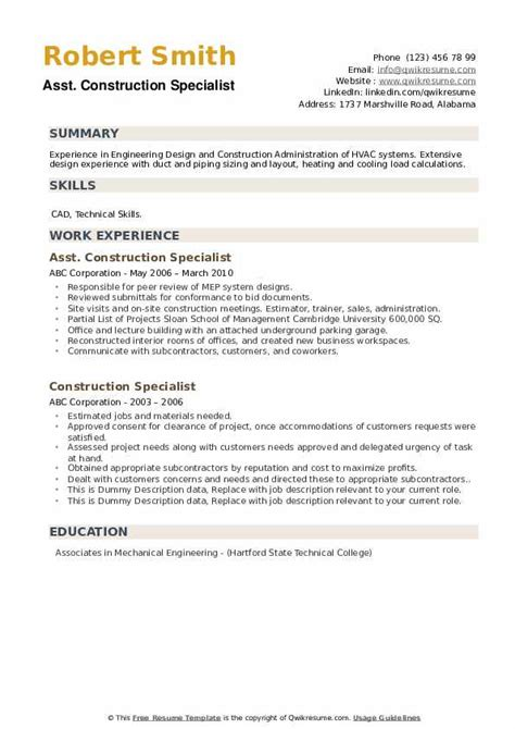 construction specialist resume samples qwikresume