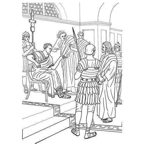 Kleurplaat Jezus Bij Pilatus by Leuk Voor Stadhouder Pontius Pilatus Ondervraagt Jezus