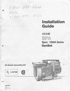1983 Fleetwood Pace Arrow Owners Manuals  Onan 4 0 Kw Bfa