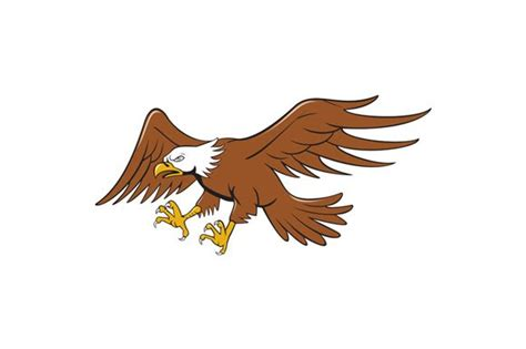 American Bald Eagle Swooping Cartoon