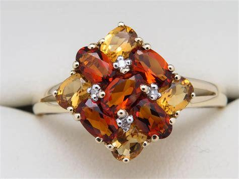 geel gouden ring gezet met diamant en  kleuren citrien catawiki