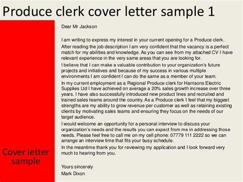 cover leter produce clerk produce clerk cover letter
