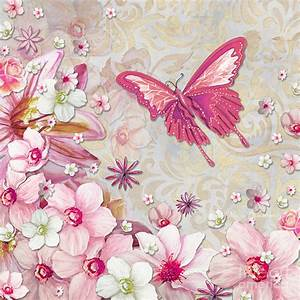 Sophisticated Elegant Whimsical Pink Butterfly Floral ...