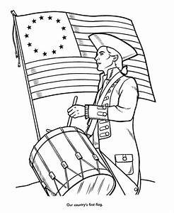 Revoltionary War Colonial Flag and Blue Coat Coloring Page ...