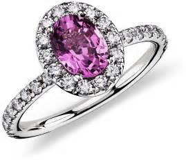 and pink sapphire engagement ring pink sapphire and ring in 18k white gold 7x5 mm blue nile