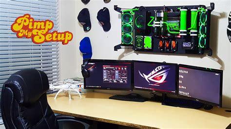 gaming computer desk ep 94 wall mounted pc setup pimp my setup dspector32