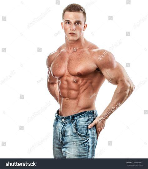 Bodybuilder Isolated On White Stock Photo