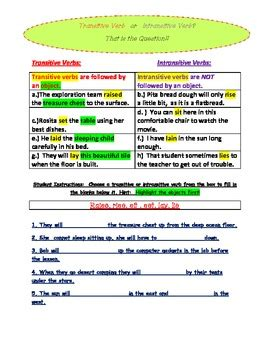 transitive and intransitive verb introductory activity