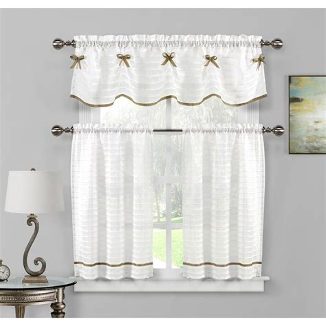 And White Valance by Duck River Carlee Kitchen Valance In White Taupe 15 In