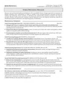 sterile processing manager resume sle manager of sterile processing