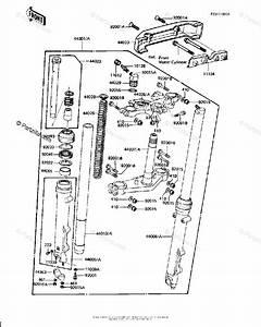Kawasaki Motorcycle 1982 Oem Parts Diagram For Front Fork  Kz1000 J2