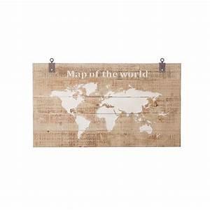 Carte Du Monde En Bois : tableau carte du monde en bois l 140 cm arbonie ~ Teatrodelosmanantiales.com Idées de Décoration