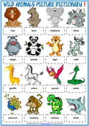 wild animals esl vocabulary worksheets