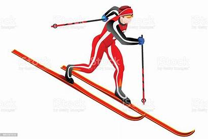 Clipart Ski Country Langlauf Cross Vektor Comic