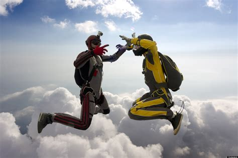 skydiving wedding couple ties  knot  jumps