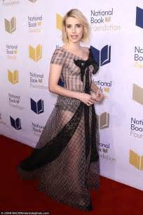 Emma Roberts in sheer gown at National Book Awards in NYC ...