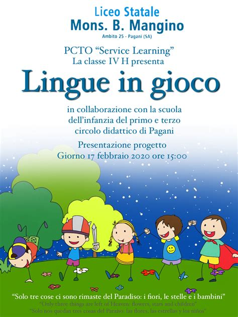 """PCTO – """" SERVICE LEARNING """" – SPAGNOLO e INGLESE – Liceo ..."""