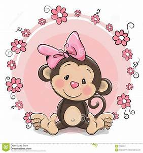 Greeting Card Cute Monkey Girl Stock Vector - Image: 70554858