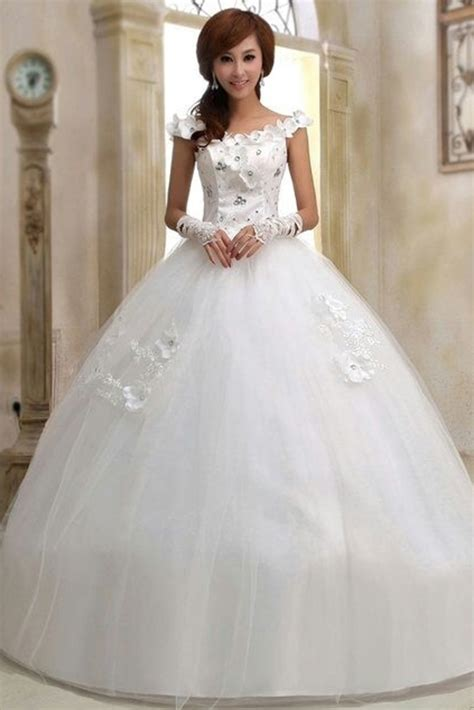 buy boat necked white wedding gown  gowns womens