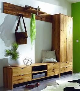 Massivholz Garderoben Set Dielenmöbel Flurmöbel Wildeiche